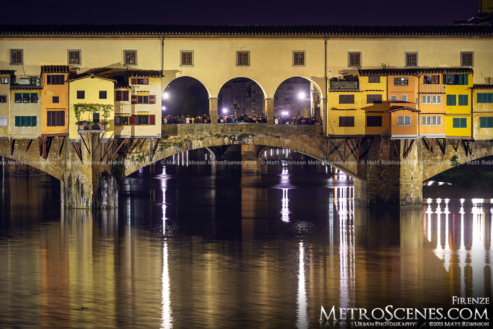 Ponte Vecchio at night from Ponte alle Grazie