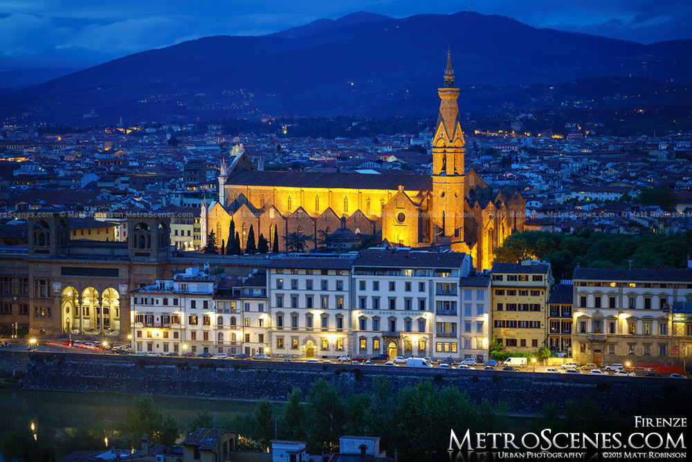 Basilica of Santa Croce in Florence at night from Piazzale Michelangelo