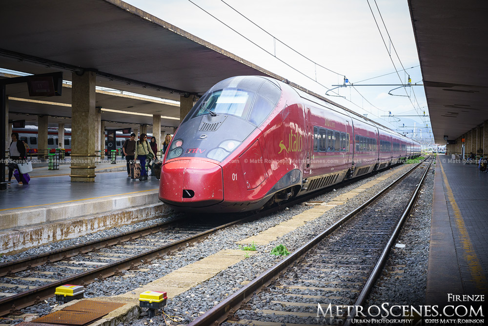 Italo High Speed Locomotive at a platform in Santa Maria Novella