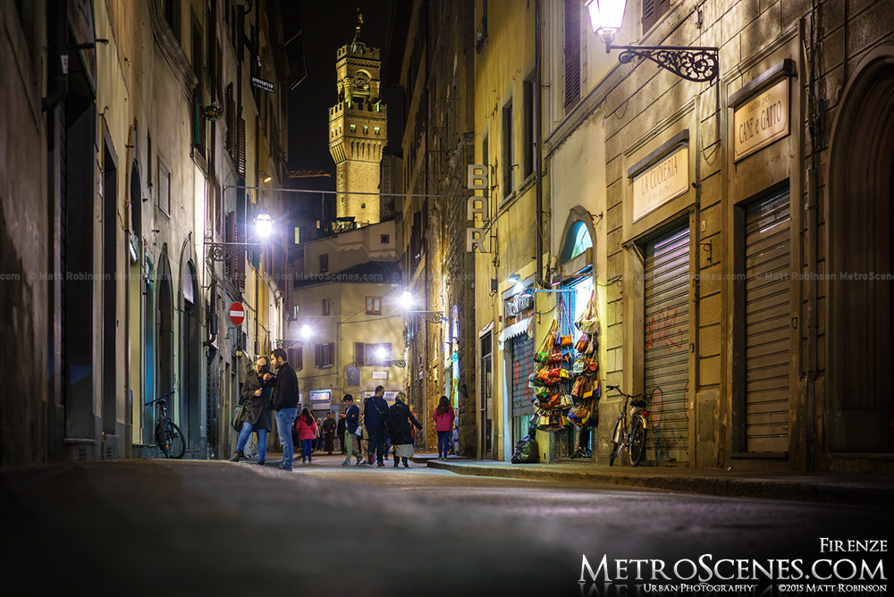 Looking down Via dei Neri at the Palazzo Vecchio Tower