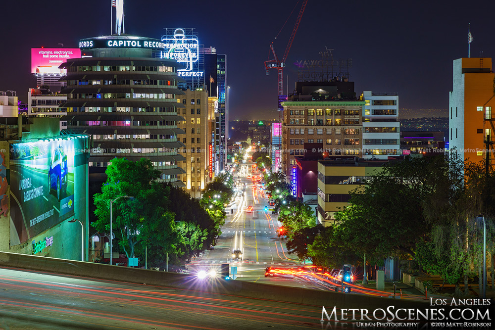 Looking down Vine Street in Hollywood at night