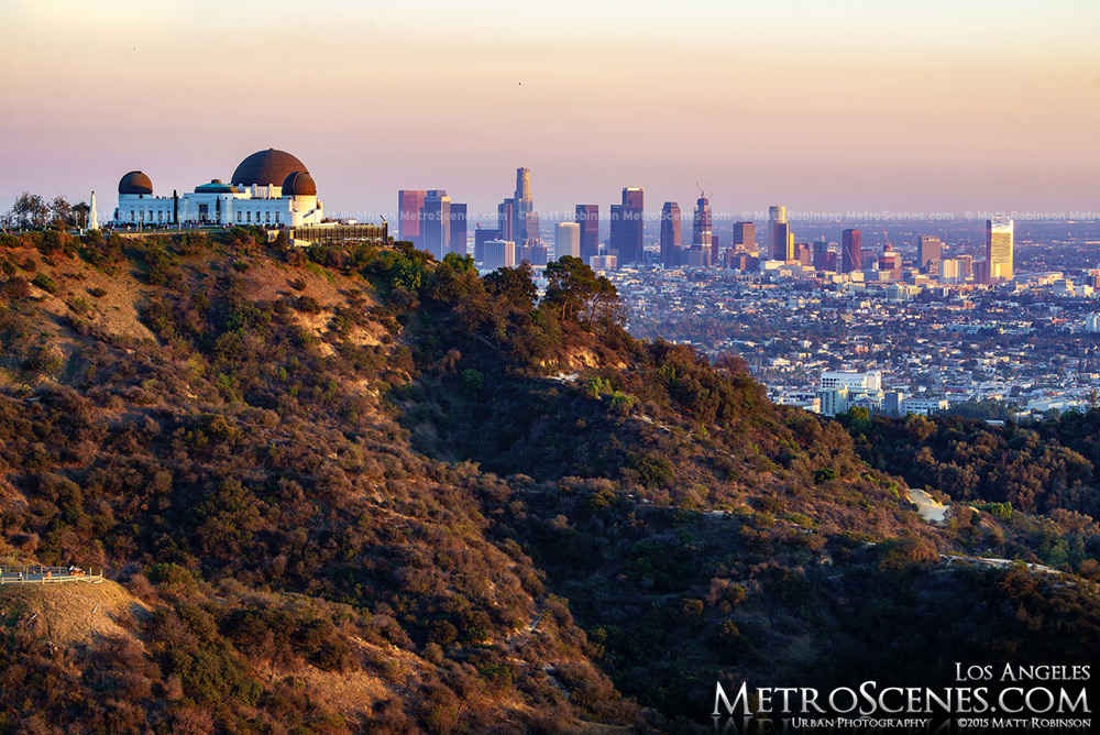 Griffith Observatory in the foreground of Los Angeles