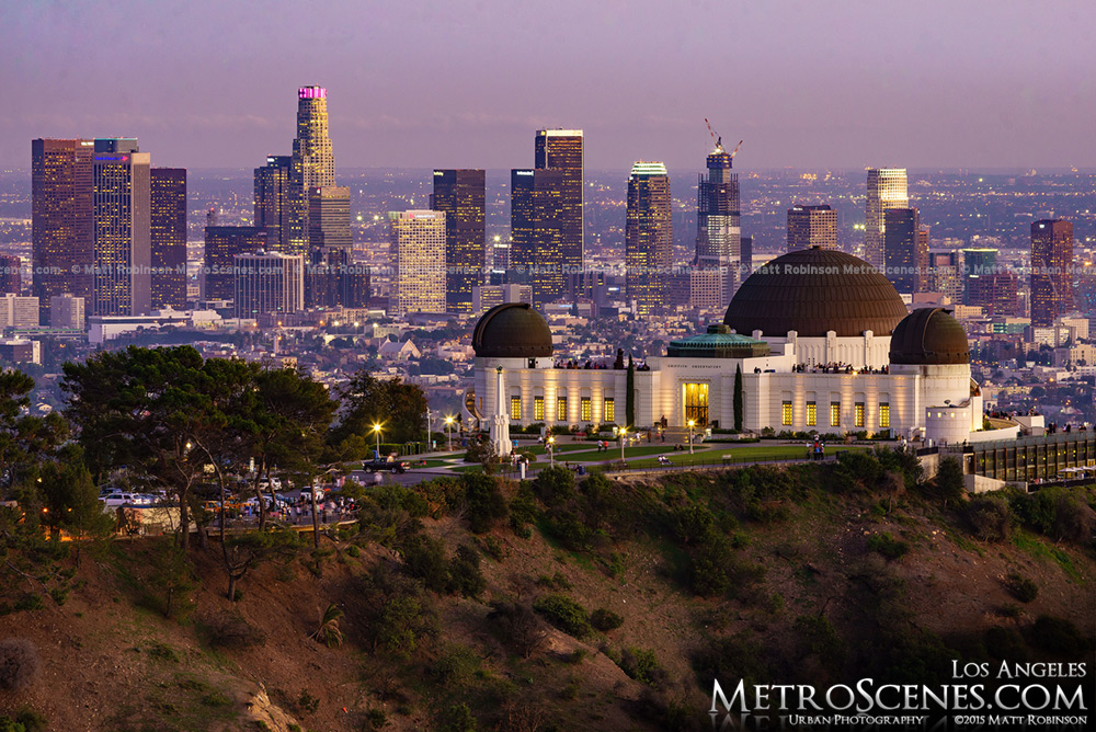 Griffith Observatory with the skyline of Los Angeles