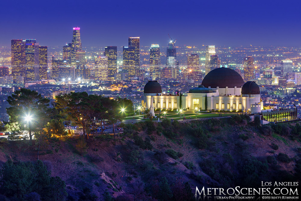 Night time view of Los Angeles with Griffith Observatory