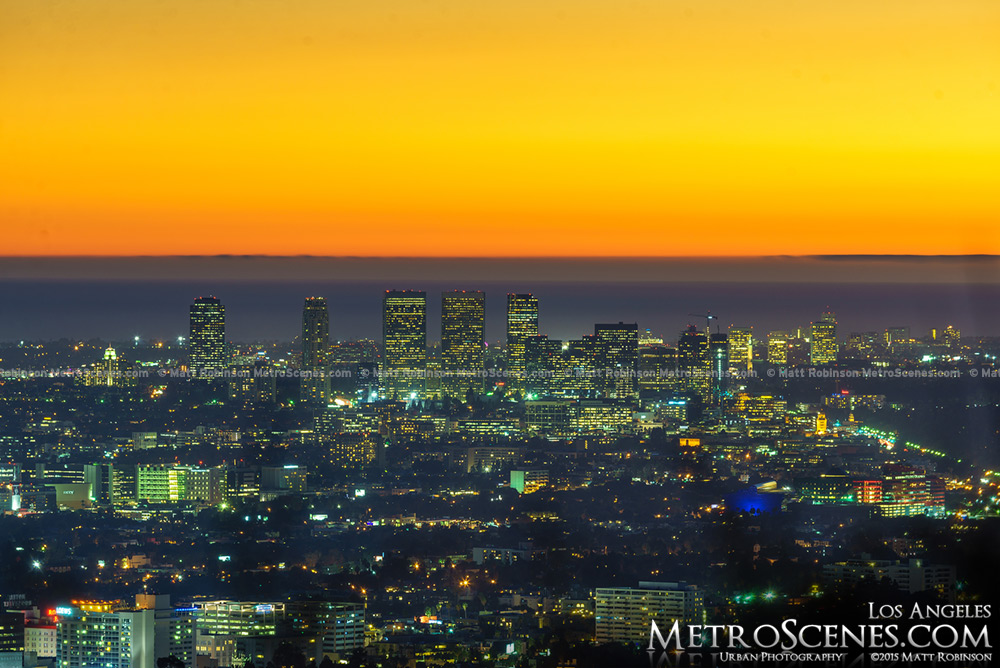 Sunset over Century City LA