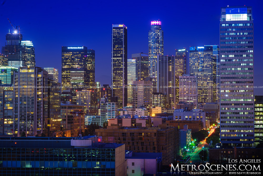 Aon Center and US Bank Tower in Downtown Los Angeles at night