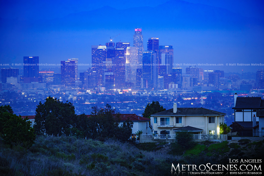 Los Angeles Skyline at night from Kenneth Hahn Recreational Park