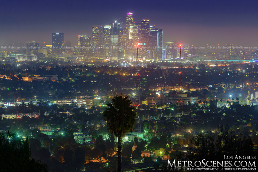 2015 Los Angeles Skyline at night from Baldwin Hills