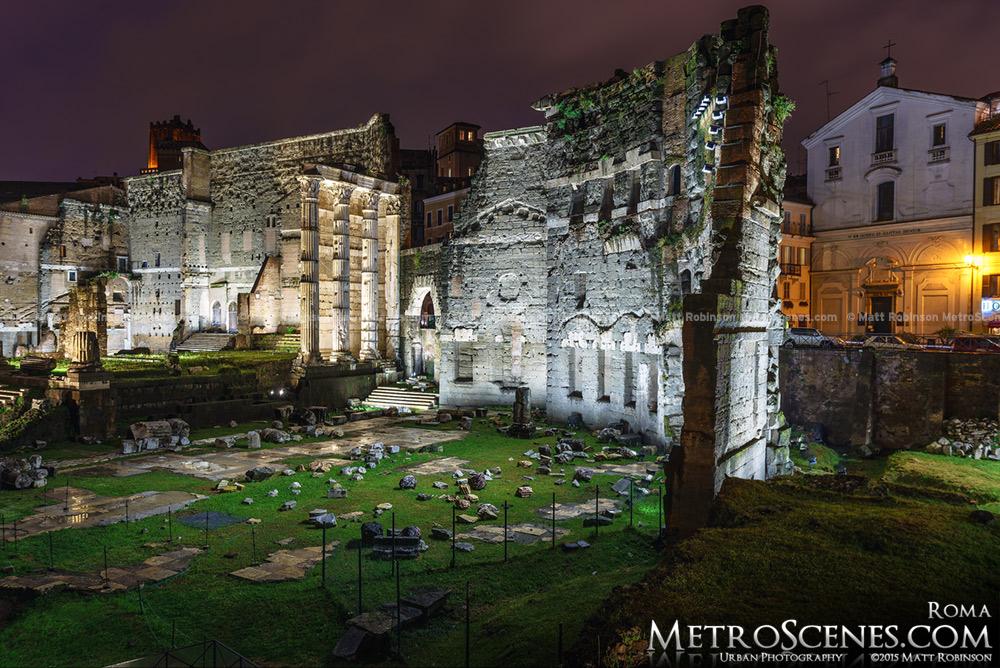 The Roman Forum illuminated at night