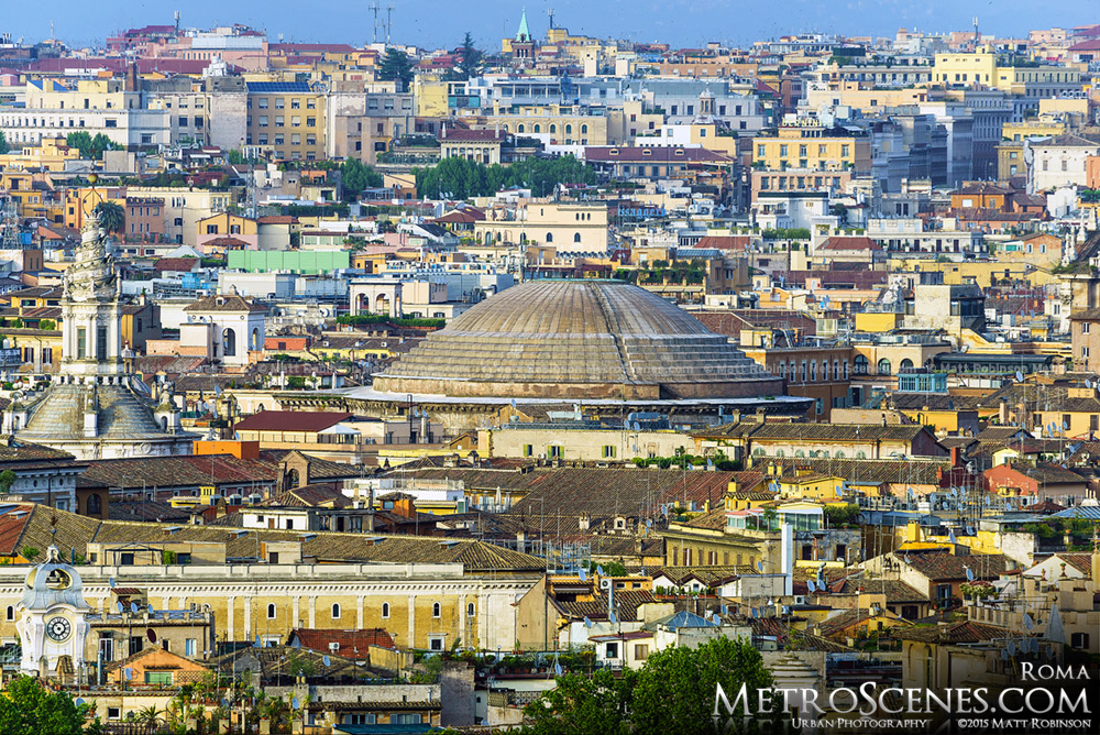 The Pantheon dome embedded in Roman buildings from Gianicolo Hill