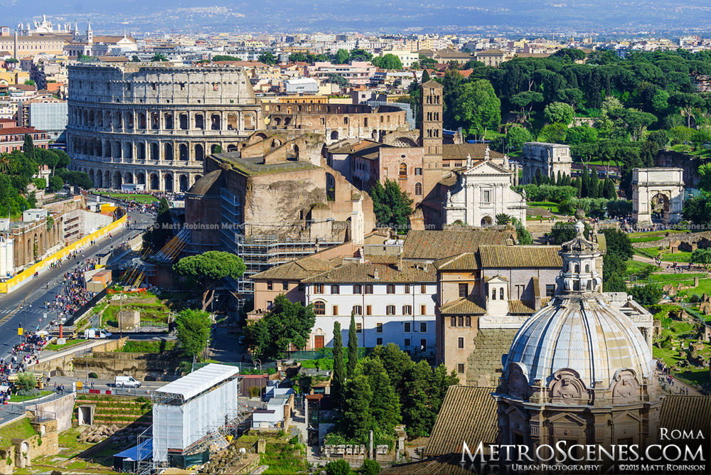 Overview of the Roman Forum and Colosseum from Altare della Patria