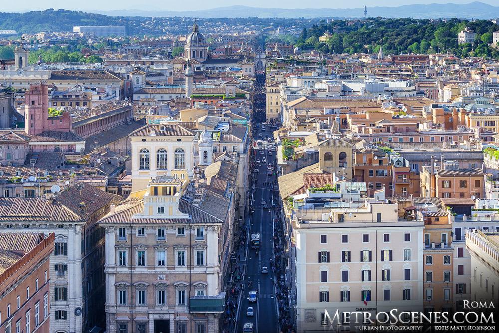 View of Rome looking down Via del Corso from Altare della Patria