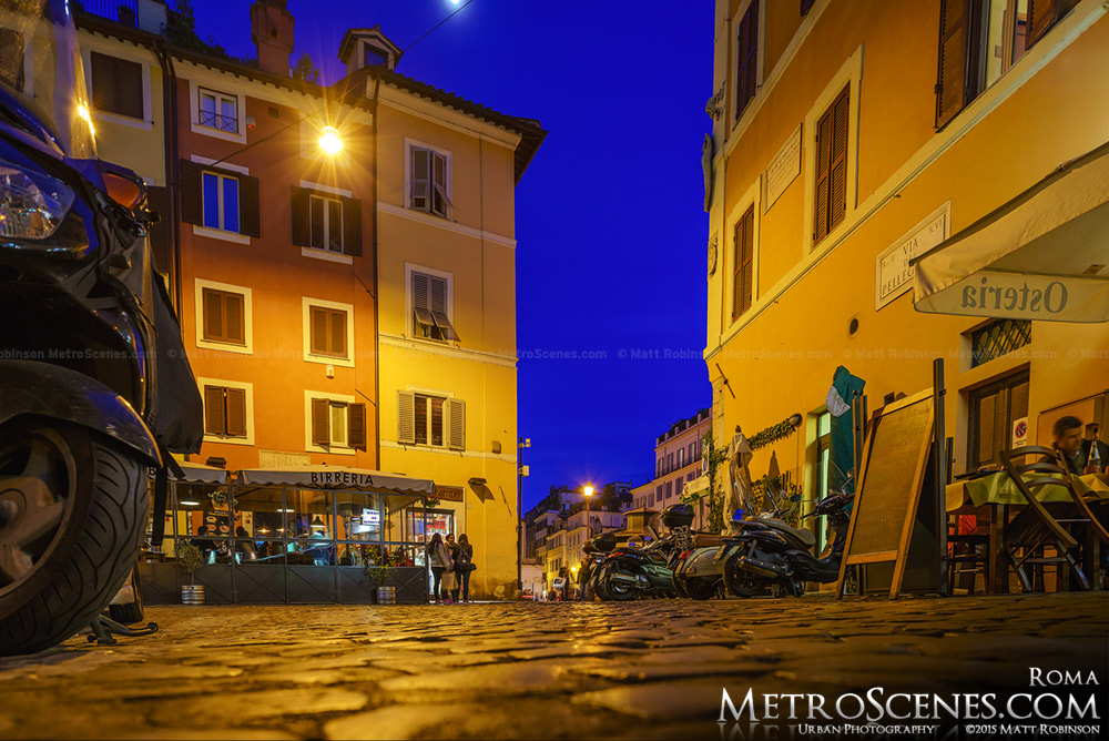 Night time street scene near Campo dei Fiori