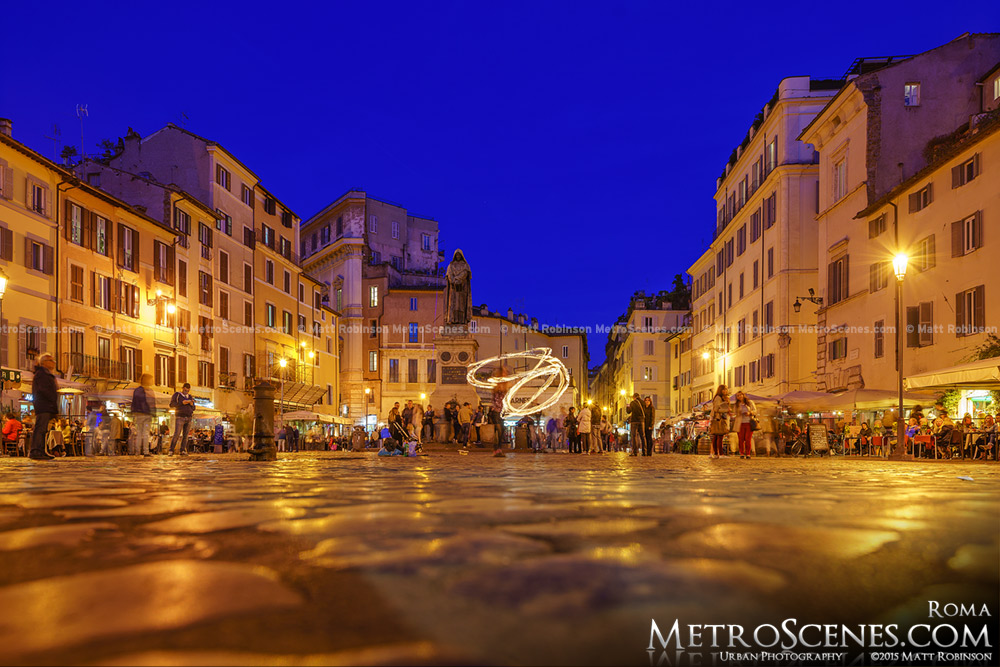 Campo dei Fiori at night with fire dancer