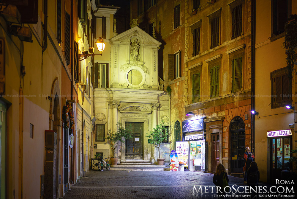 Church of Santa Barbara dei Librai at night in Rome