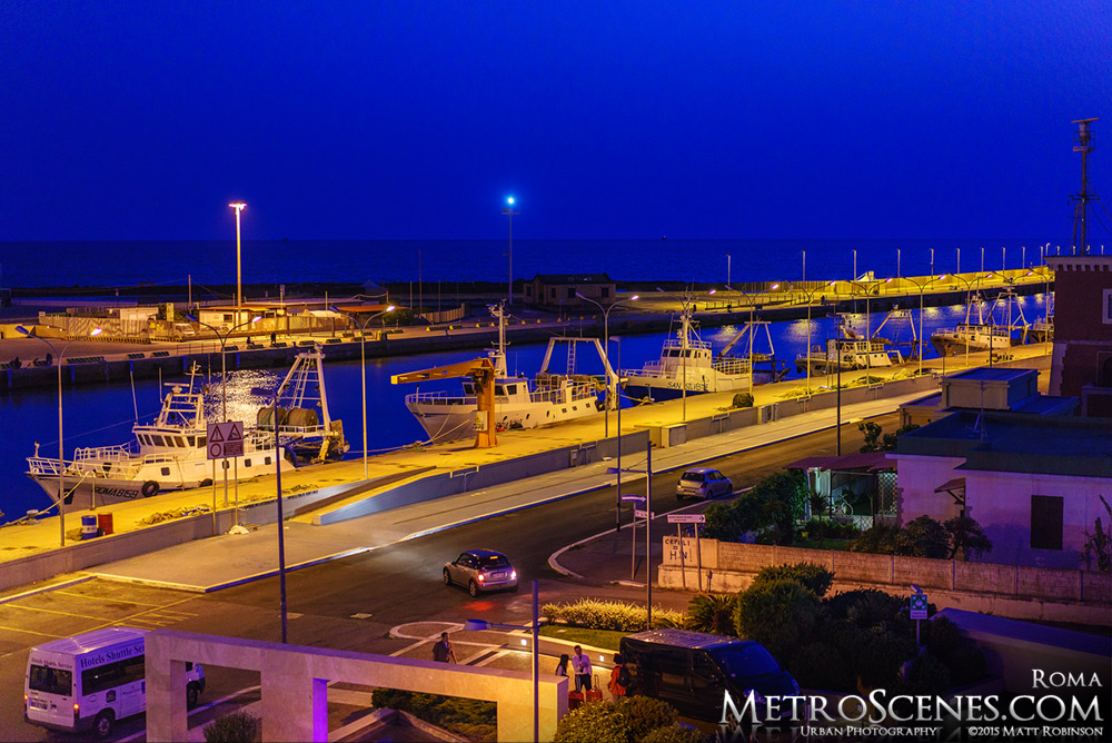 Fiumicino Fishing Port at night from Hotel Tiber