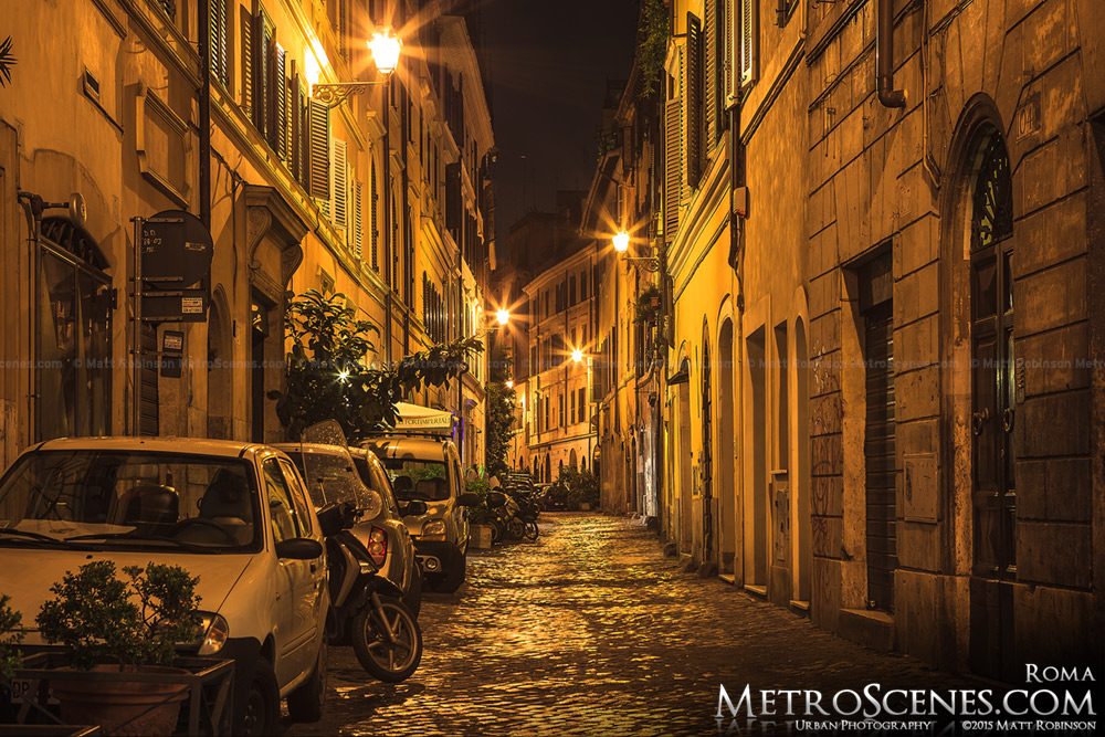 Night time Roman street scene