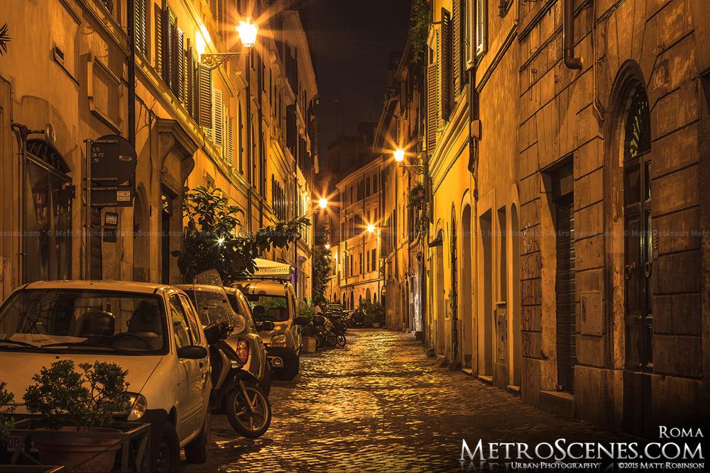 Night time Roman street scene