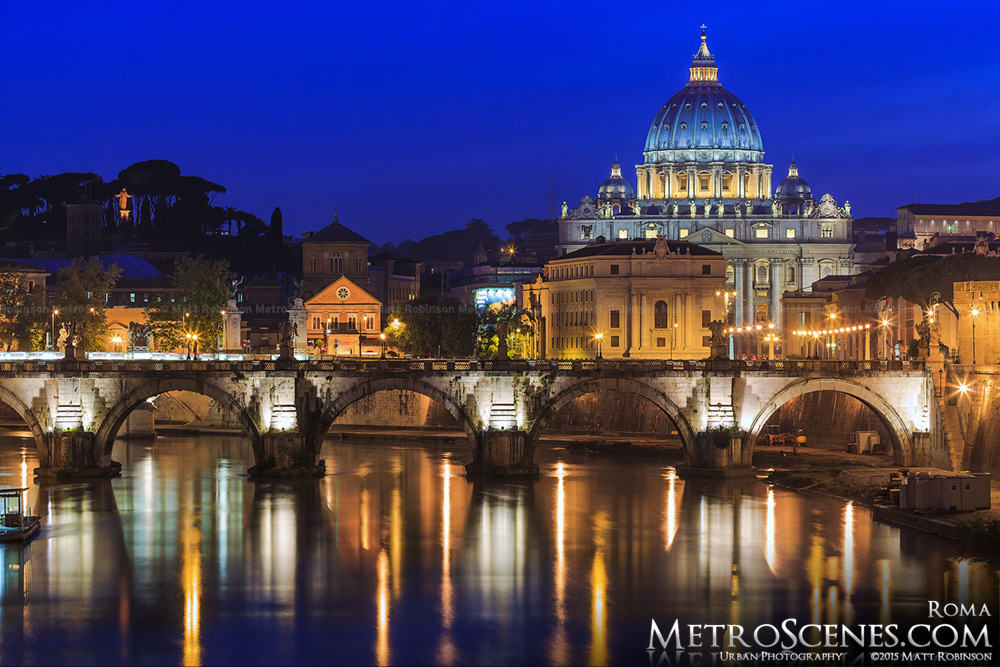 St. Peters Basilica Dome and River Tiber at night
