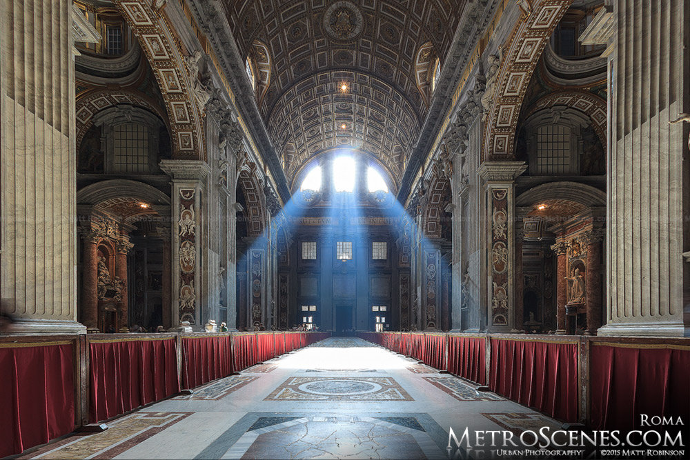 Sunrays inside St. Peters Basilica