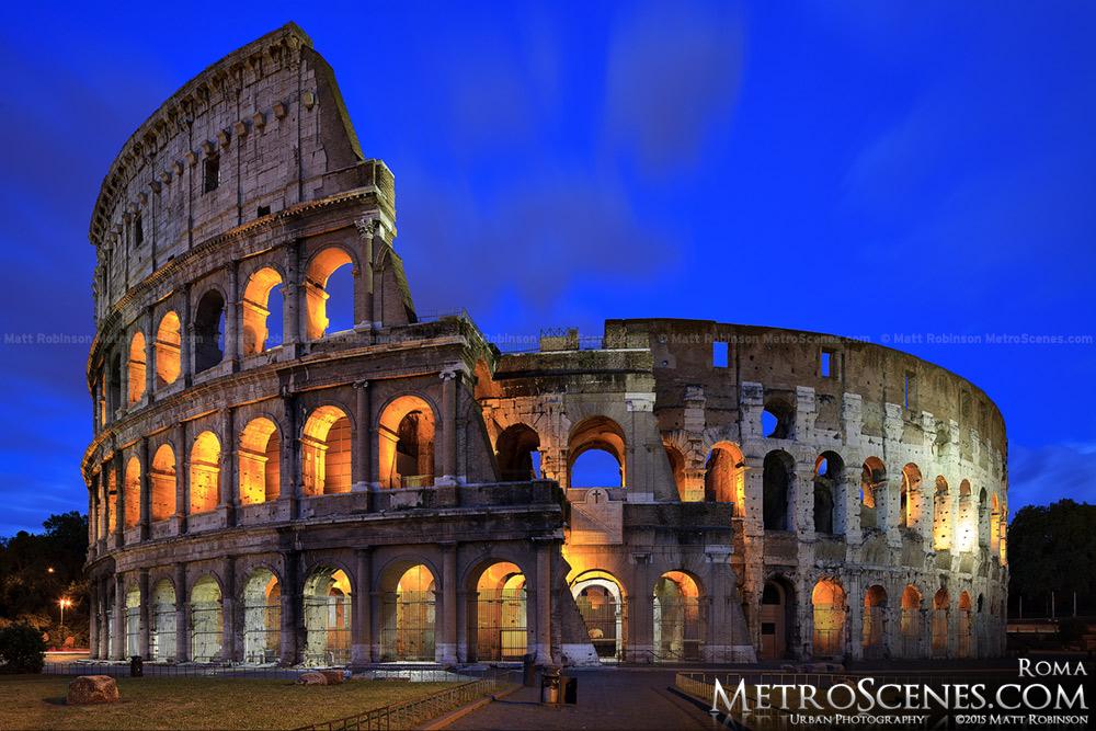 Roman Colosseum at night Rome Flavian Ampitheater Roma Colosseo