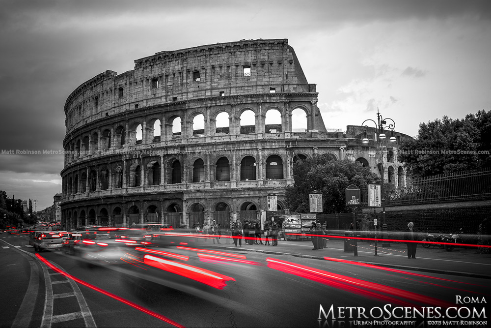 Black and white and red colosseum