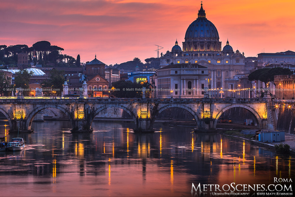 Vivid sunset over the River Tiber and St. Peter's Basilica