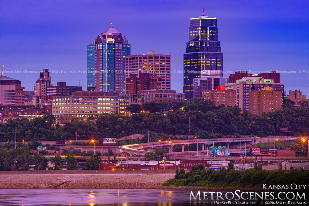 Kansas City at dusk from Kaw Point