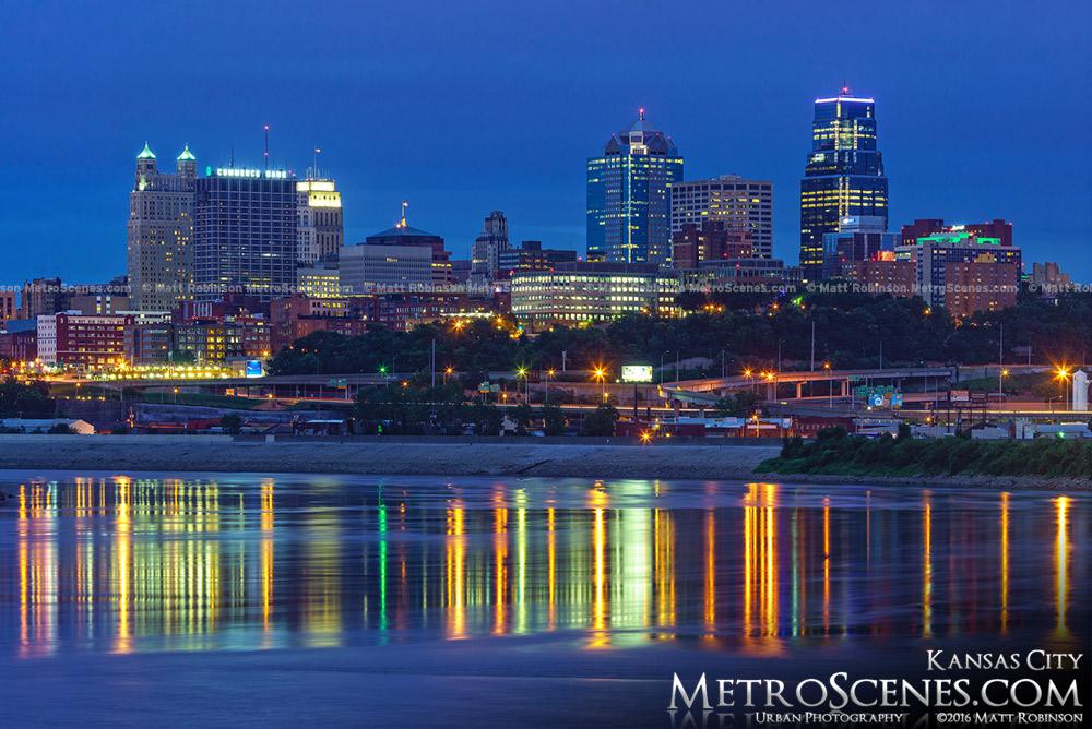 Kansas City Skyline at night from Kaw Point