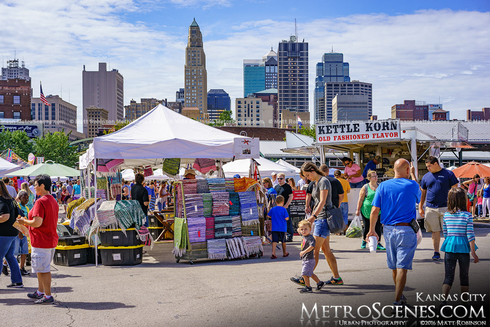 Kansas City River Market with downtown skyline