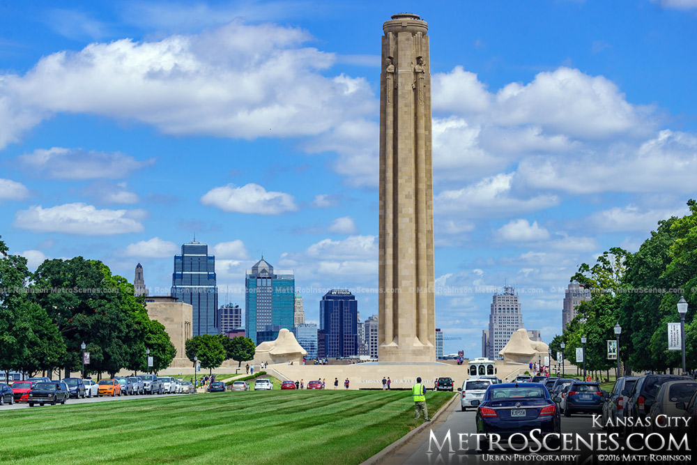 The Liberty Memorial with downtown Kansas City