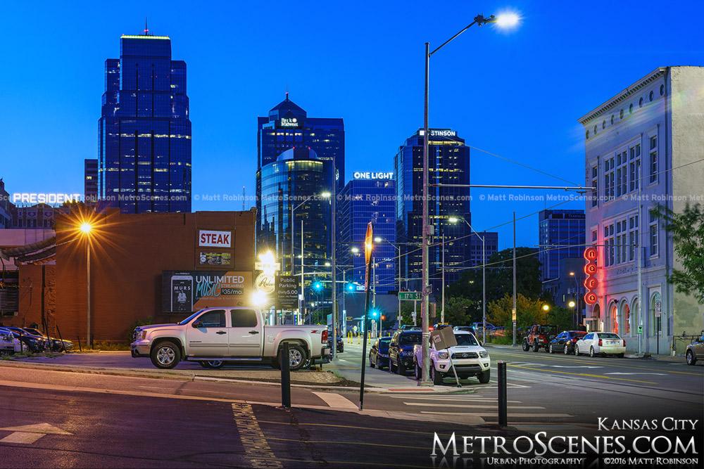 Main Street downtown at dusk