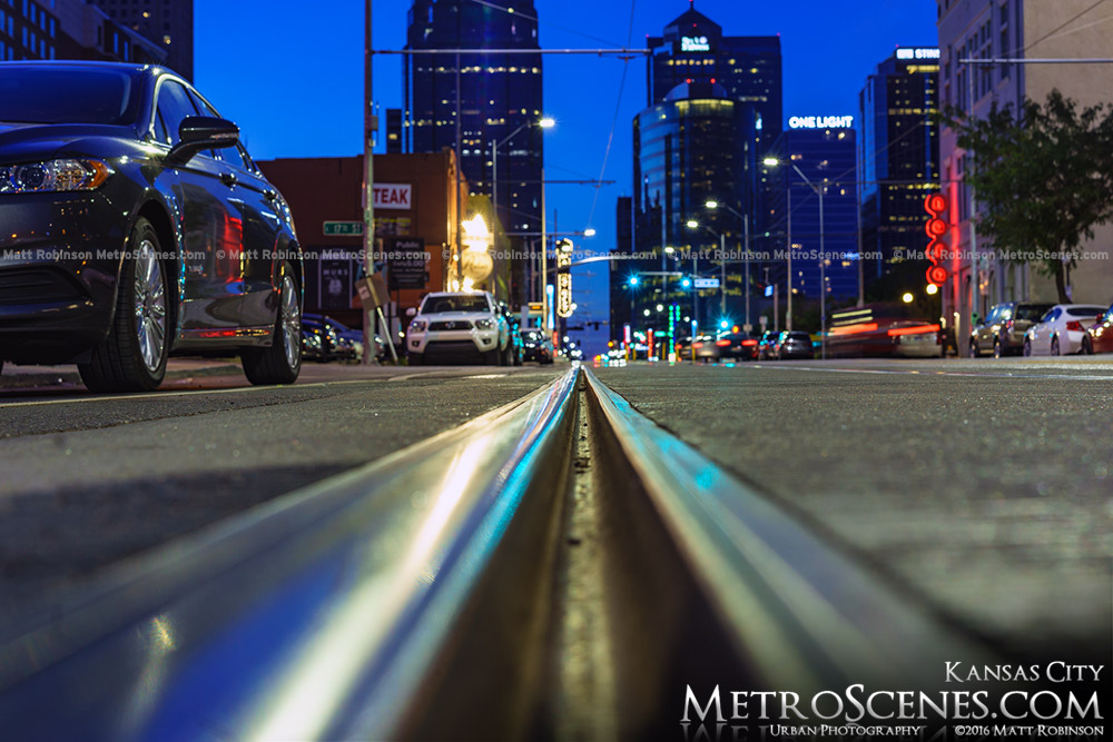 Kansas City Streetcar track on Main Street at night