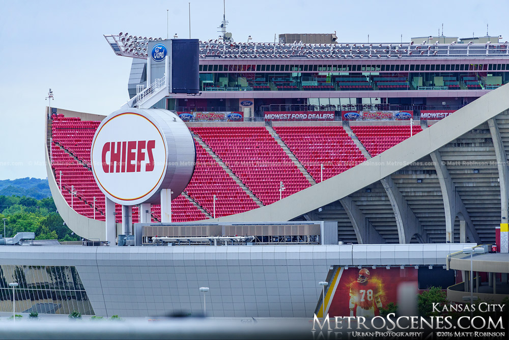 Red seats at Arrowhead Stadium in Kansas City