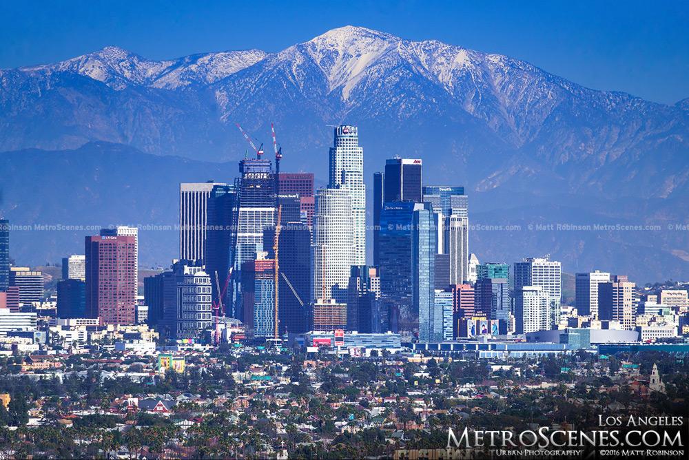 Los Angeles skyline with Snow capped Mount San Antonio