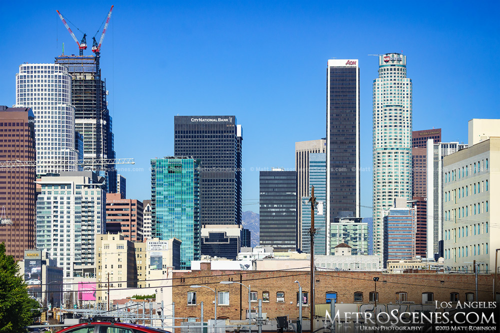 Wilshire Grand Center rises in downtown Los Angeles Feb 2016