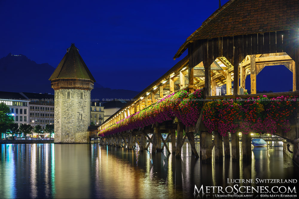 Chapel Bridge and Water Tower in Lucerne, Switzerland at night