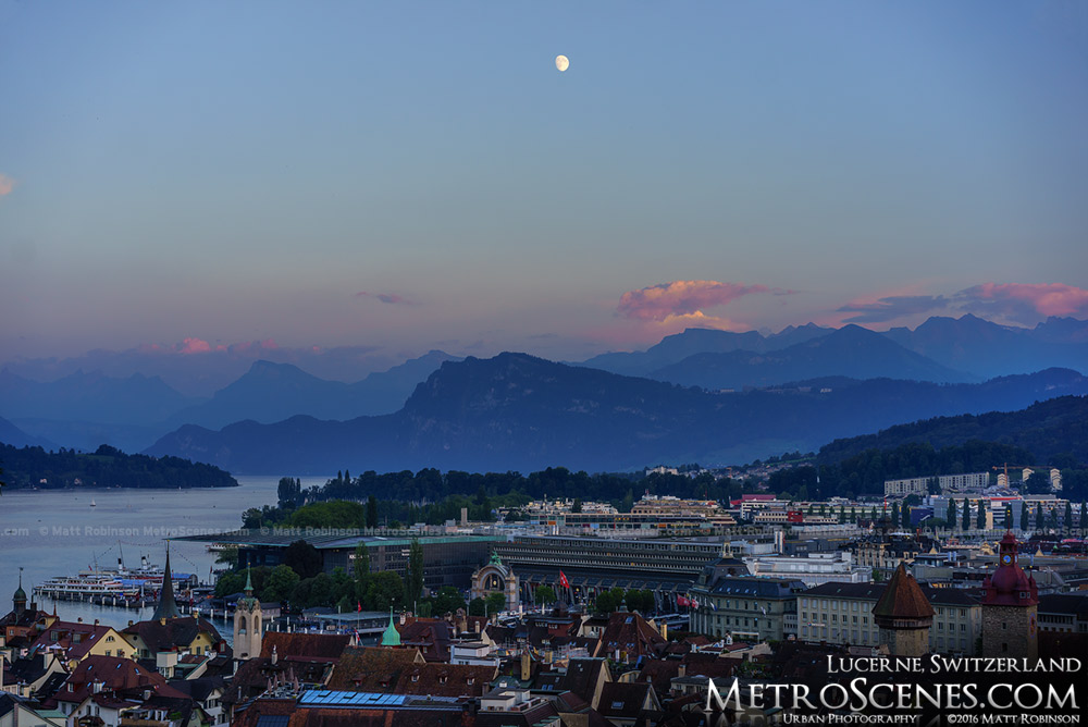 Moon over Lucerne, Switzerland