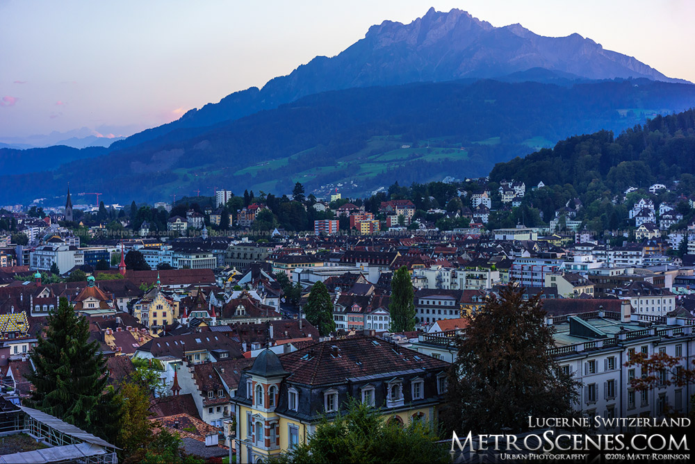 Mt. Pilatus rises above the city of Lucerne