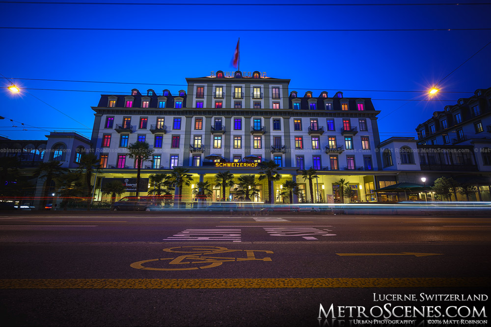 Hotel Schweizerhof Luzern at night