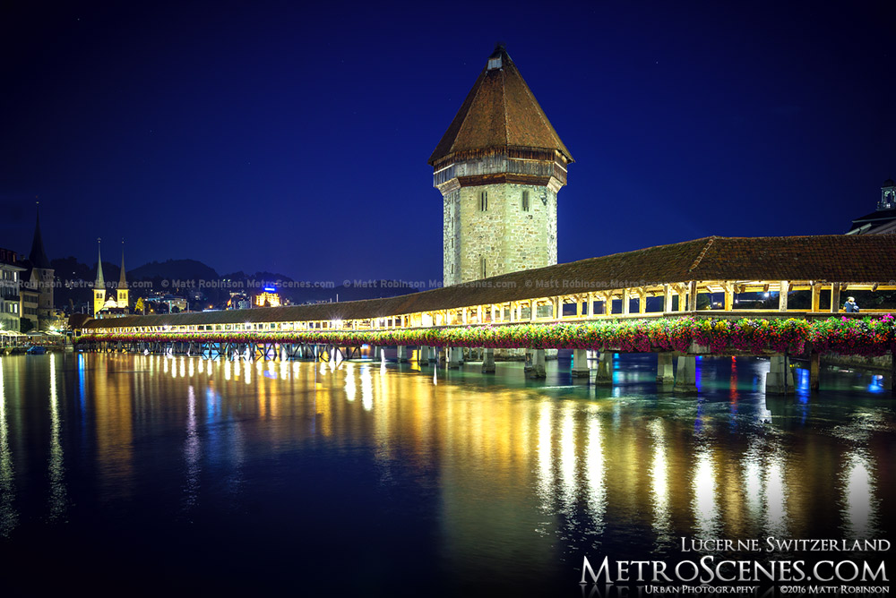 Kapellbrücke and Tower at night
