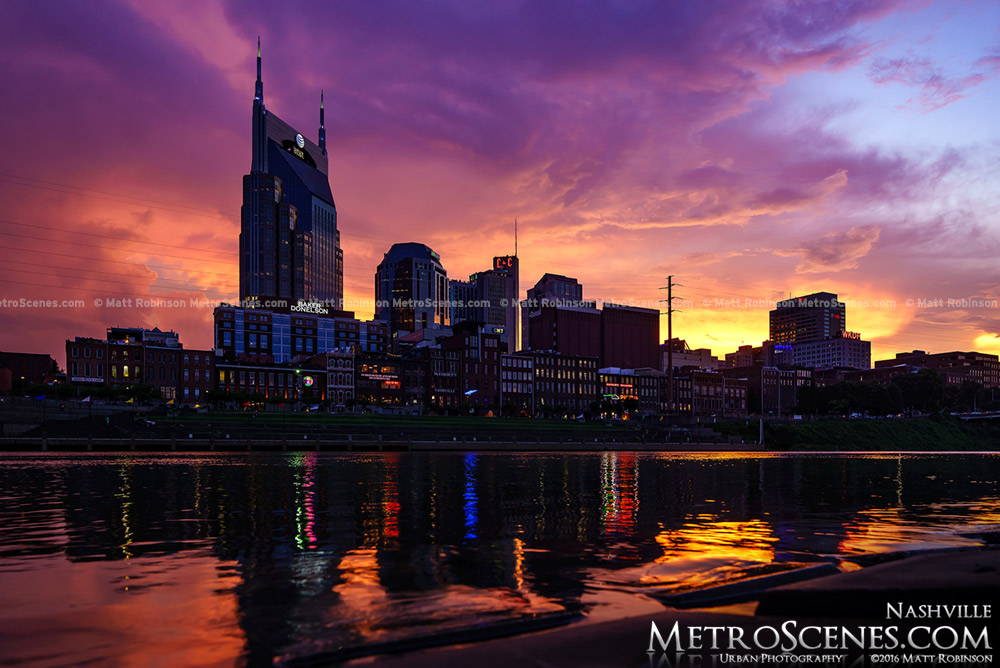Nashville, Tennessee Skyline reflects in the Cumberland River at sunset