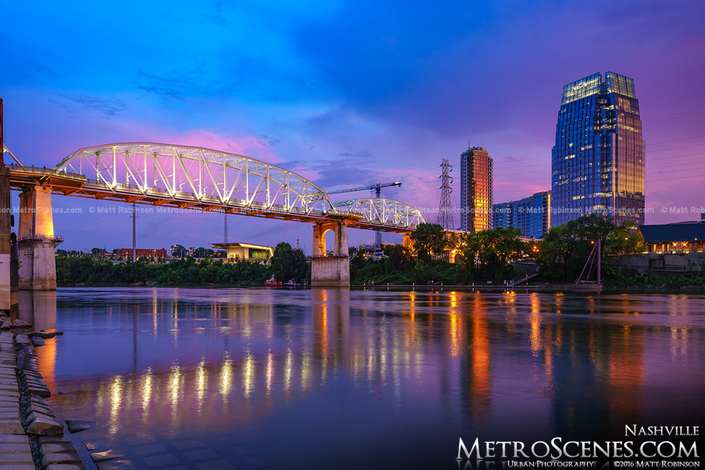 John Seigenthaler Pedestrian Bridge and The Pinnacle at Symphony Place in Nashville at sunset