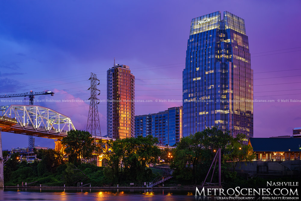 The Pinnacle at Symphony Place at sunset