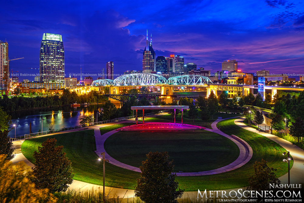 Nashville Skyline and Ascend Amphitheater at night