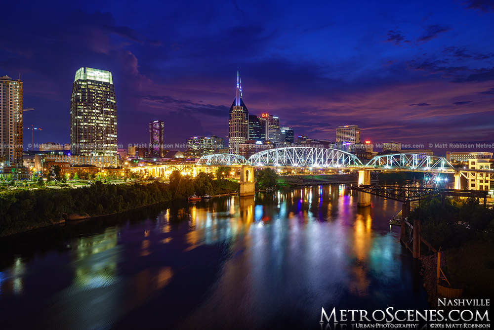 Cumberland River with downtown Nashville at night