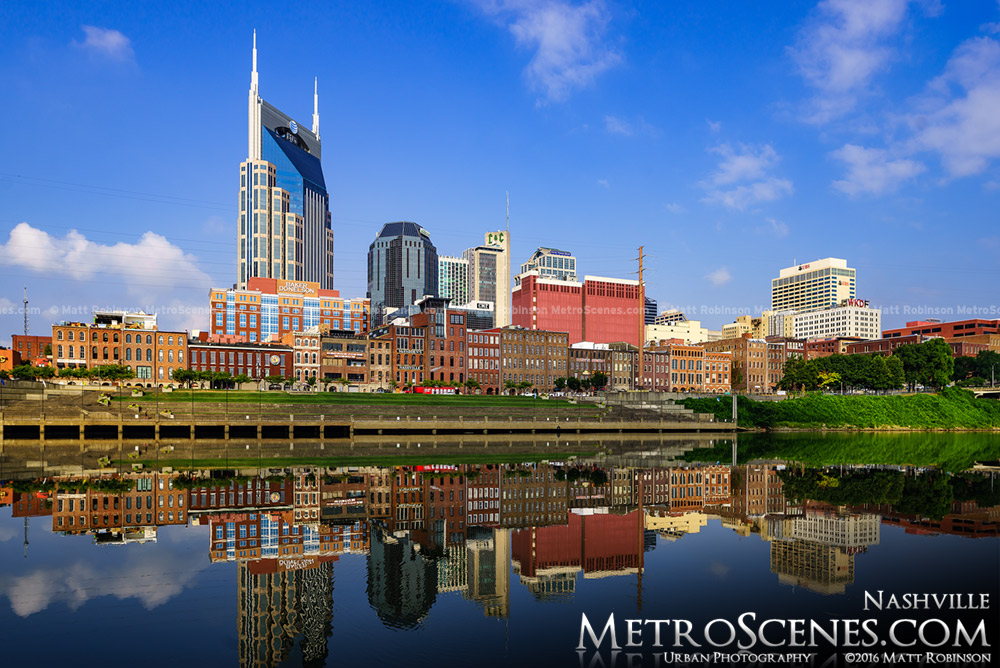 Mirrored reflection of the Nashville Skyline in the Cumberland River