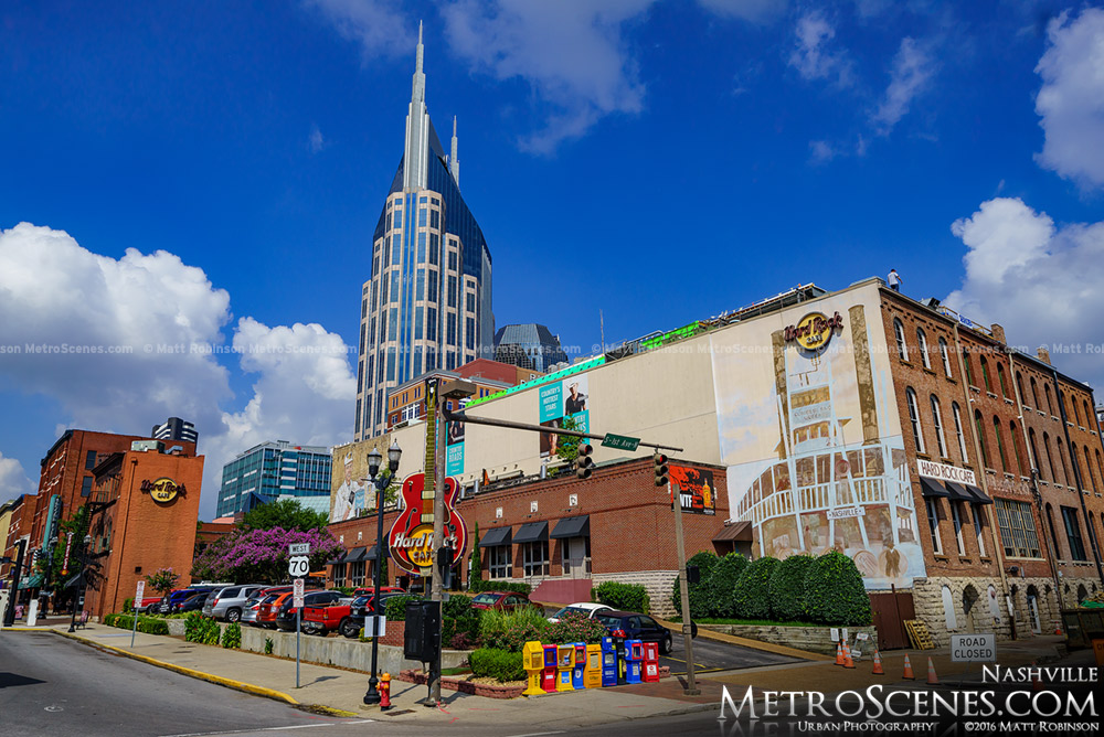 The corner of Broadway and First Avenue Nashville