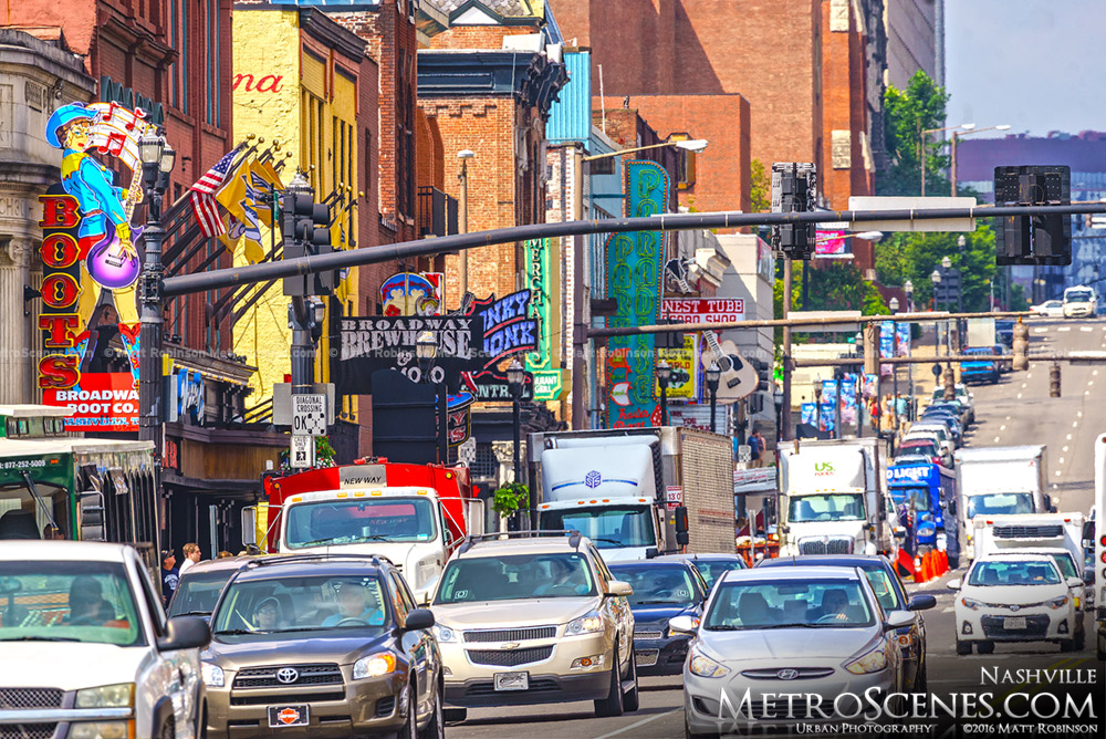 Zoom down the south side of Broadway Nashville