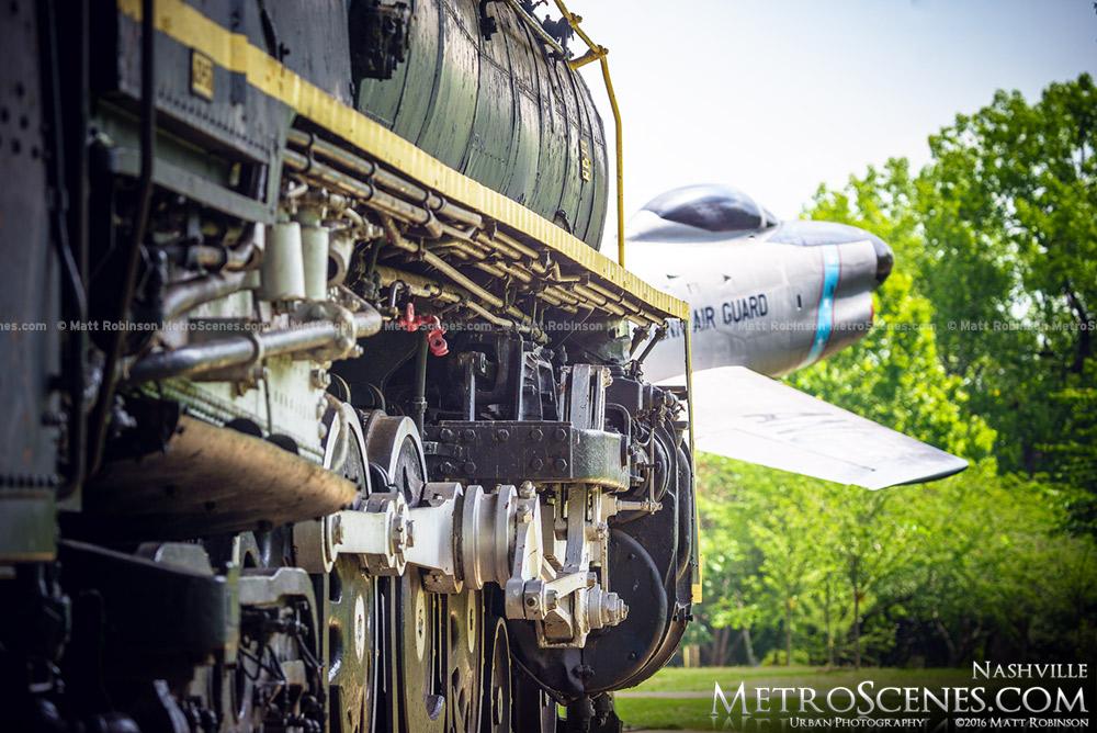 Steam locomotive No. 576 with F-86L Sabre Jet in Centennial Park Nashville